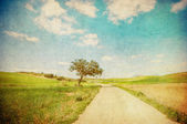 Grunge image of countryside road — Stock Photo