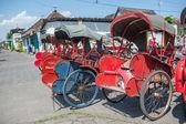 Trishaws in the street of Surakarta, Indonesia — Stock Photo