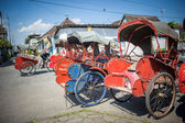 Trishaws in the street of Surakarta, Indonesia — Stock Photo