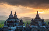 Borobudur temple at sunrise, Java, Indonesia — Stok fotoğraf