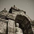 Buddha statue at Borobudur temple, Java, Indonesia — Stock Photo