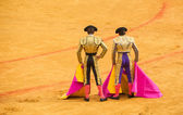 Matadors at bullring — Stock Photo
