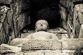 Buddha-statue am borobudur-tempel, java, indonesien — Stockfoto