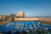 Fisherman boats in Essaouira port, Morocco — Stock Photo