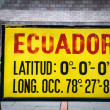 Stock Photo: Zero latitude sign at Mitad del Mundo, Ecuador