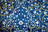 Tiled background, oriental ornaments from Isfahan Mosque, Iran — Photo