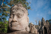 Head of gate guardian, Angkor, Cambodia — Stock Photo