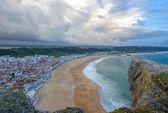 Panoramic view of Nazare beach, Portugal — Foto Stock