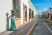 Streets of Campeche colonial town — Stock Photo