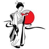 Vector of traditional Japanese Geisha — Stock Vector