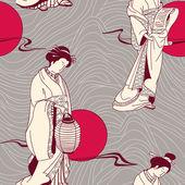 Vector of traditional Japanese Geisha seamless pattern — Stock Vector