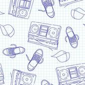 Hip hop music seamless pattern — Stock Vector