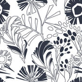 Vintage floral seamless pattern with hand drawn flowers — Stock Vector