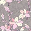 Seamless vintage pattern with magnolia flower - Stock Vector