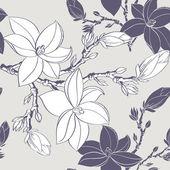 Sem costura vintage padrão com flor de magnólia — Vetor de Stock