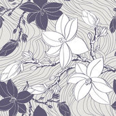 Seamless vintage pattern with magnolia flower — Stock Vector