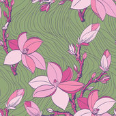 Floral seamless pattern with drawing magnolia flowers — Stock Vector