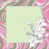 Greeting card with pink magnolia flowers — Stock Vector