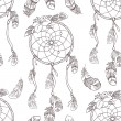 Seamless ethnic ornate dreamcatcher pattern — 图库矢量图片