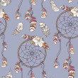 Seamless ethnic ornate dreamcatcher pattern — Stockvektor