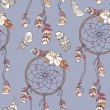 Seamless ethnic ornate dreamcatcher pattern — Imagen vectorial