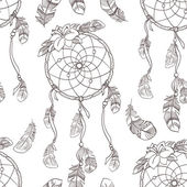 Seamless ethnic ornate dreamcatcher pattern — ストックベクタ
