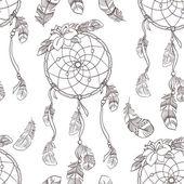 Seamless ethnic ornate dreamcatcher pattern — Stock Vector