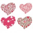 Set of hearts. Red valentine hearts in floral style isolated on White background — Stock Vector #18445717