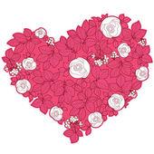 Valentine srdce ve florálním stylu izolovaných na pozadí — Stock vektor