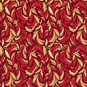 Seamless pattern with red and gold feathers — Stock Vector