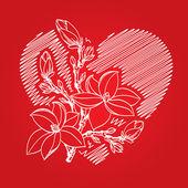 валентина карты с сердца и цветут филиал — Cтоковый вектор