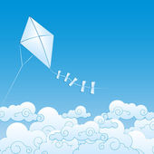 Paper kite up in the clouds — Stock Vector