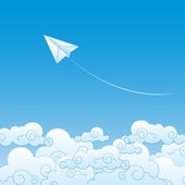 Paper plane against sky with clouds — Stock Vector