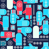 Winter mittens snowflake seamless pattern — Stock Vector