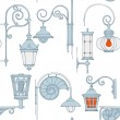 Street lantern seamless pattern - Stock Vector