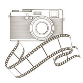 Vintage photo camera with vignette — Stock Vector