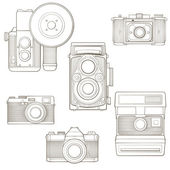 Vintage photo cameras set. Vector illustration. — Stock Vector