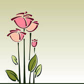 Stylized roses flower cart, vector background for design — Stock Vector