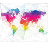 Colored world map triangle design — Stock Vector