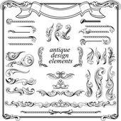 Calligraphic design elements, page decoration set — Stock Vector