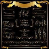Gold calligraphic design elements, decoration set — Stock Vector