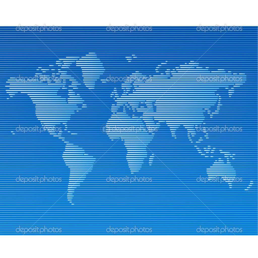 条纹的线世界地图矢量模板