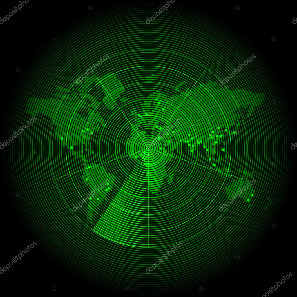 Green world map with a radar screen — Stock Vector ...