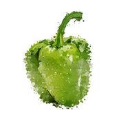 Grön paprika av blotting vektor — Stockvektor