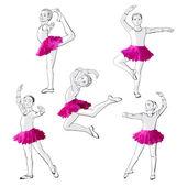 Bailarinas niñas niños bailando — Vector de stock