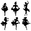 Cabaret dancer vector silhouettes set — Stock Vector