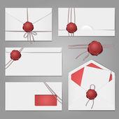 Envelopes with a wax seal set — Stock Vector