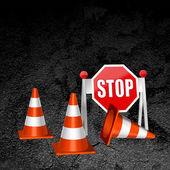 Construction repair of roads concept vector background — Stock Vector