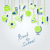 Back to school concept and icon set — Stock Vector
