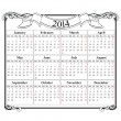 Calendar grid 2014 blank template — Stock Vector